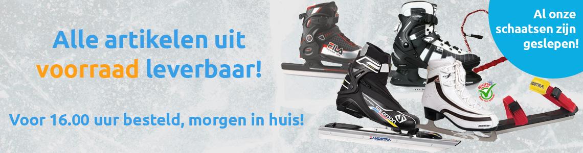 Alle onze schaatsen en noren zijn op voorraad!