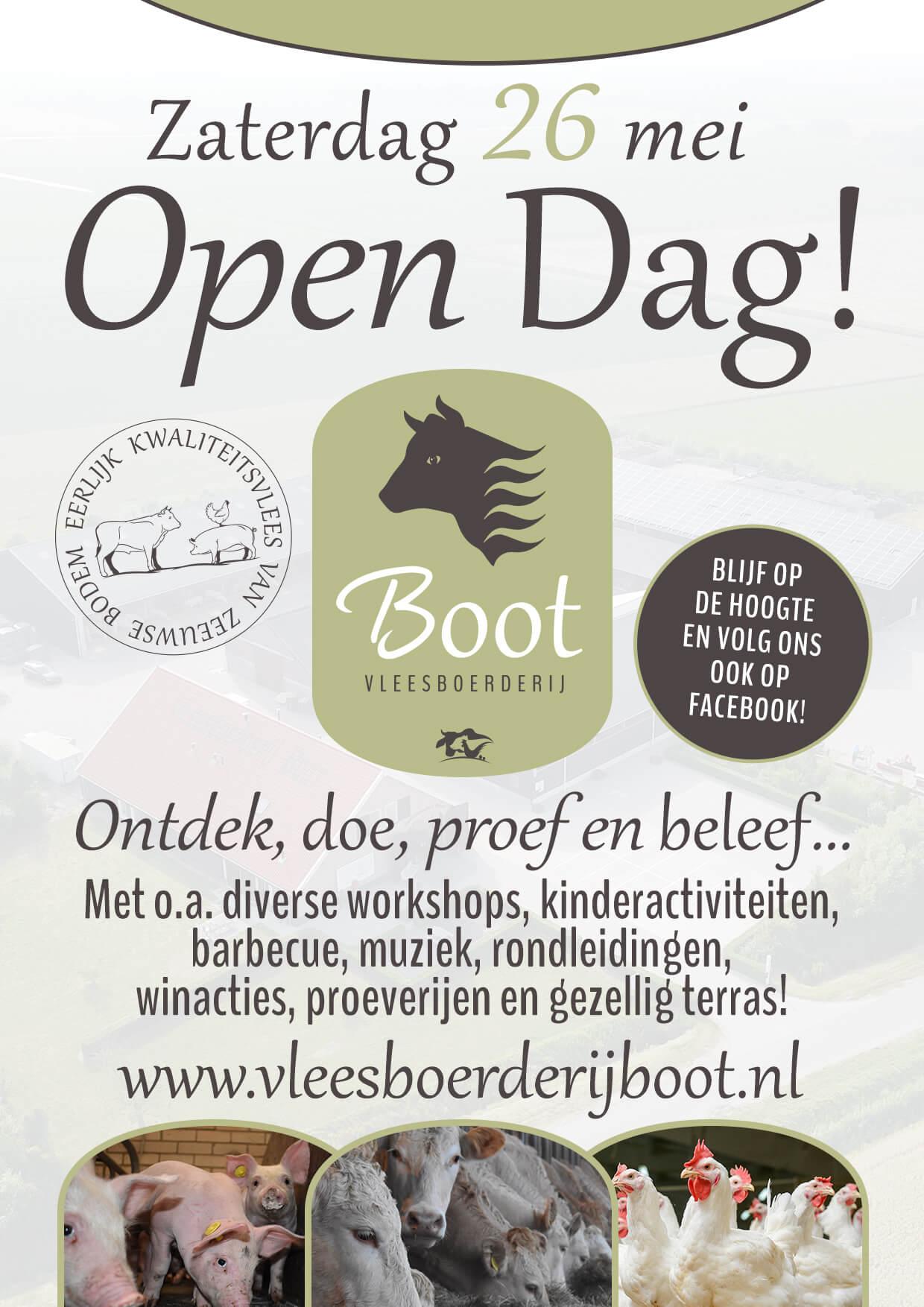 Vleesboerderij Boot open dag 26 mei flyer